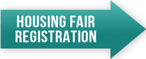 Green arrow that reads 'Housing Fair Registration'